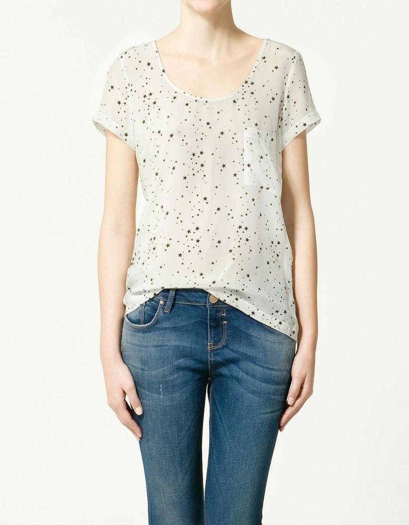biała bluzka ZARA w kropki - wiosna-lato 2011