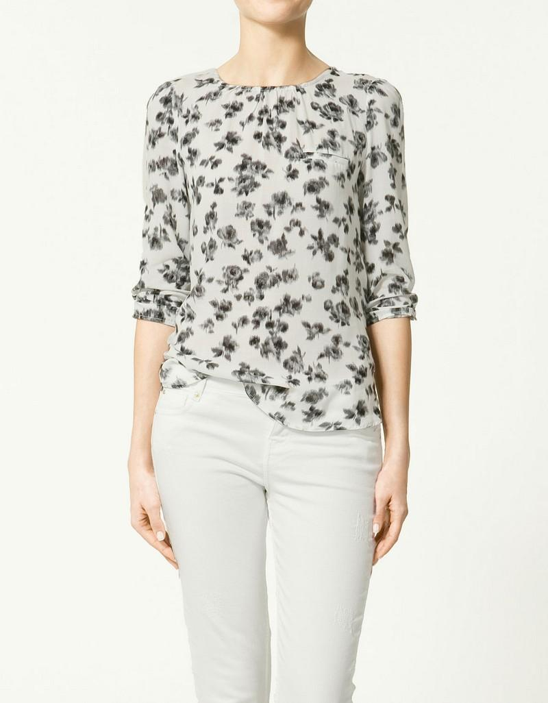 bluzka ZARA w kwiaty - kolekcja letnia