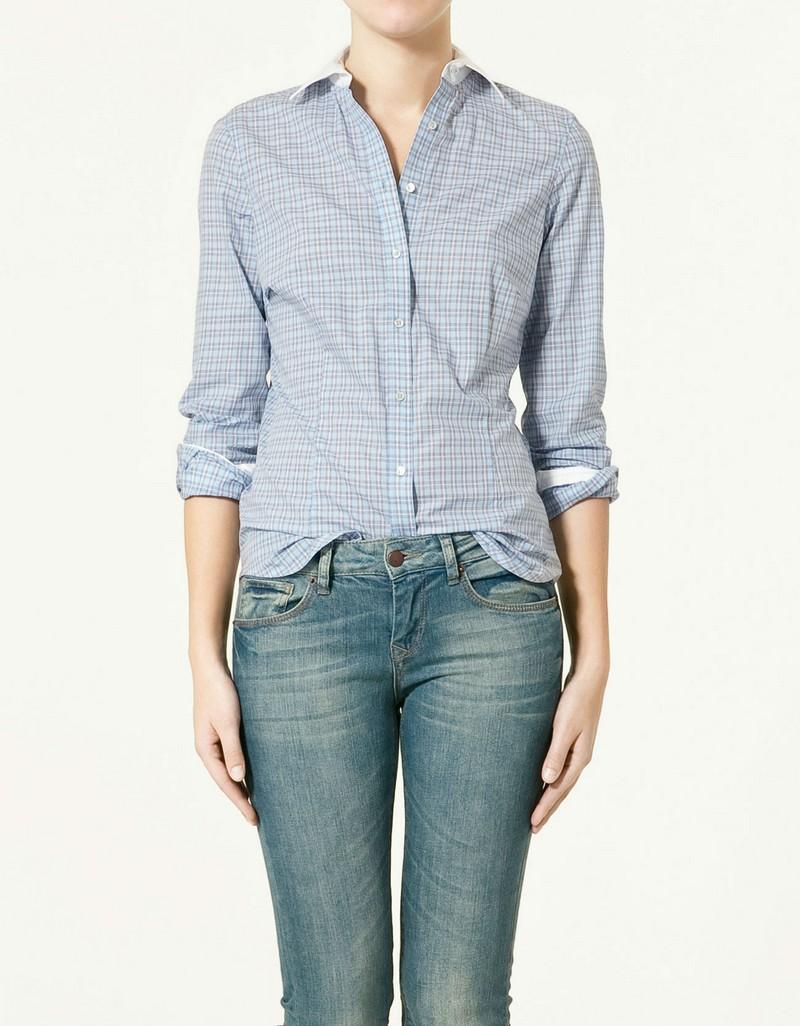niebieska koszula ZARA w kratkę - z kolekcji wiosna-lato 2011