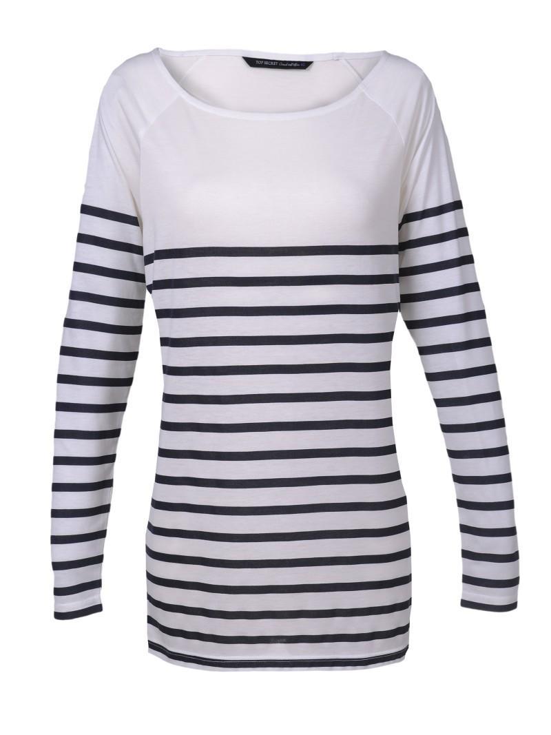 biała bluzka Top Secret w paski - moda 2011