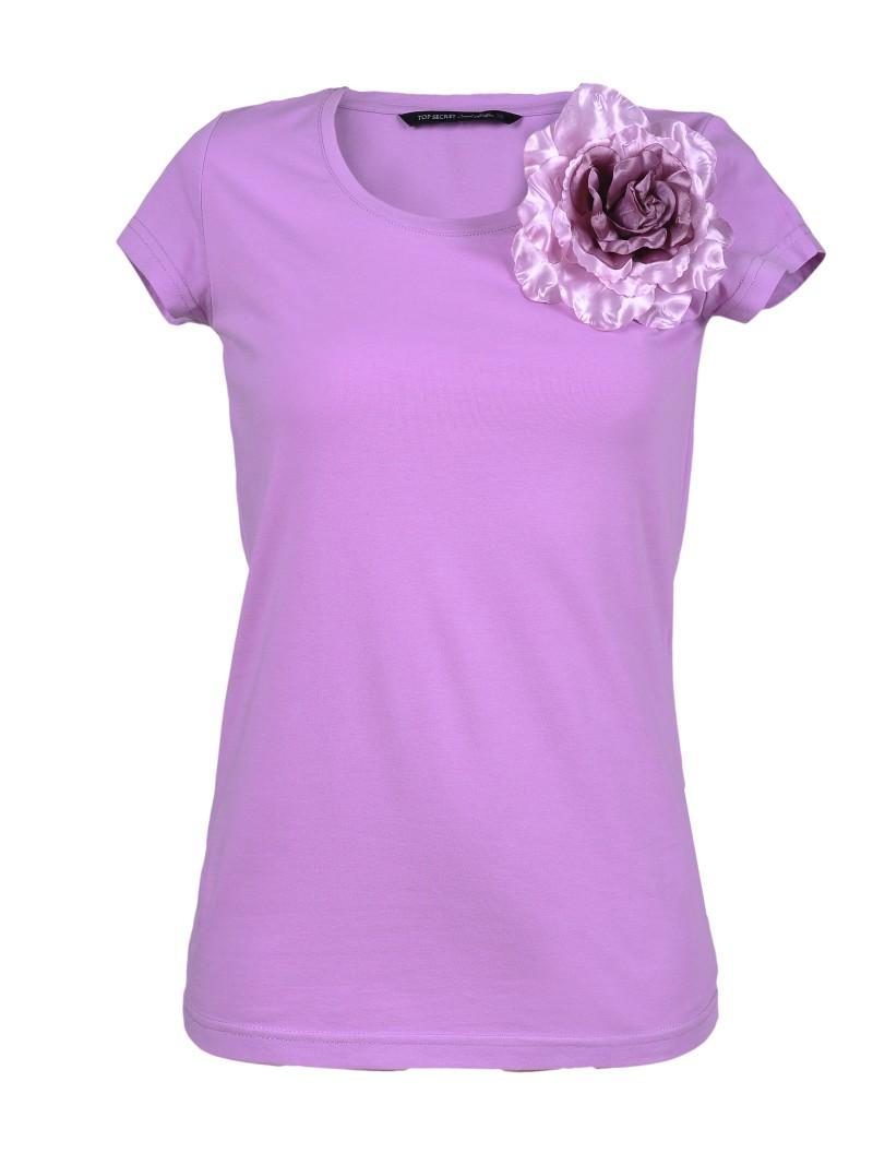 różowy t-shirt Top Secret z kwiatem - wiosna 2011