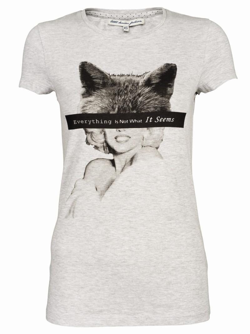 szara koszulka Troll z nadrukiem - z kolekcji wiosna-lato 2011