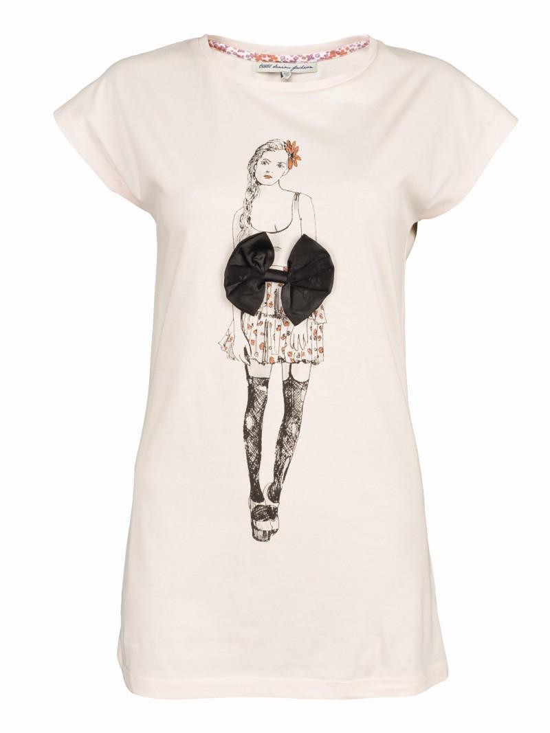 ecru koszulka Troll z nadrukiem - kolekcja letnia