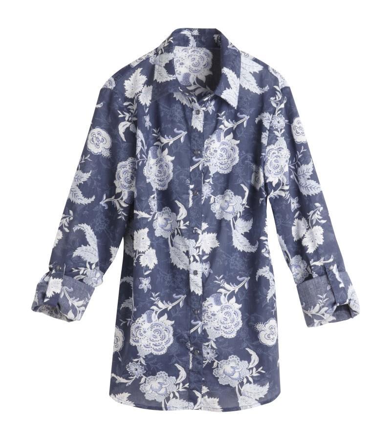 niebieska bluzka Camaieu w kwiaty - moda 2011