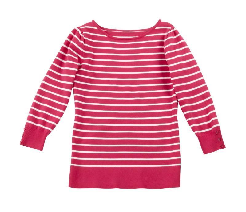 różowy sweter Camaieu w paski - moda 2011
