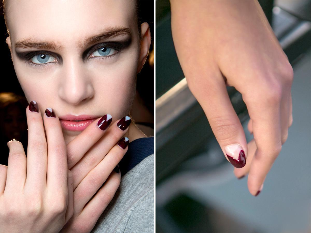 Bordowe paznokcie graficzne