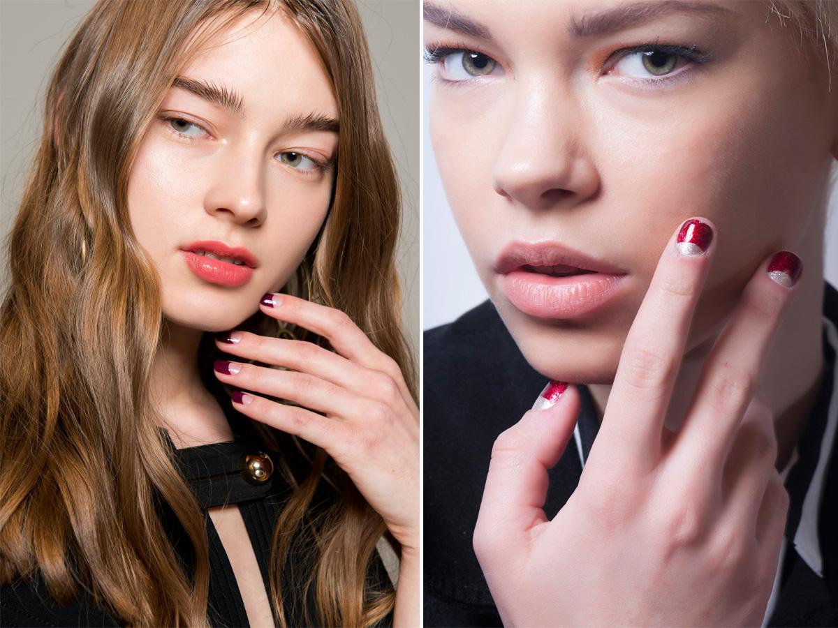 Bordowe paznokcie moon manicure