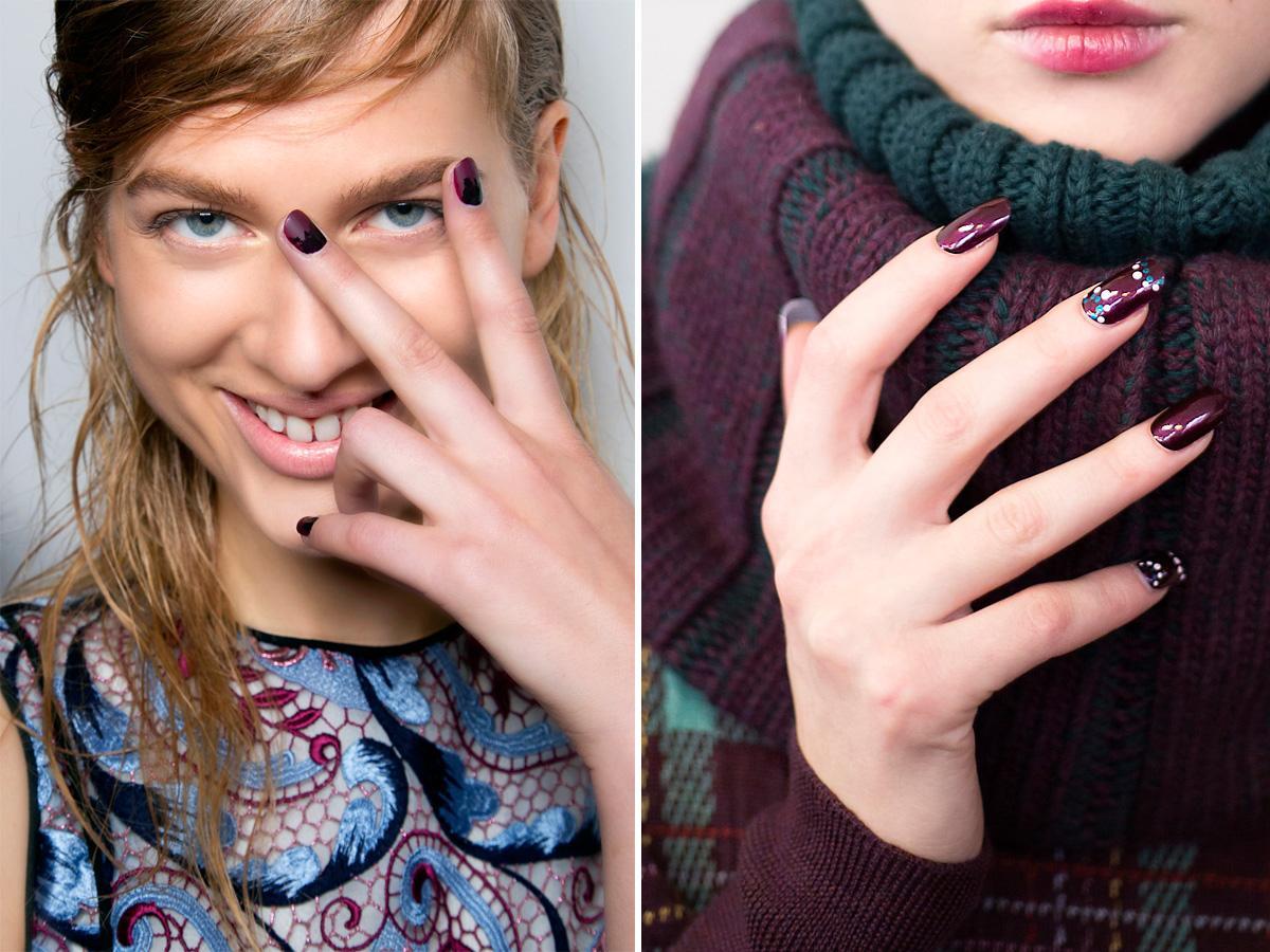 Bordowe paznokcie wzorzyste