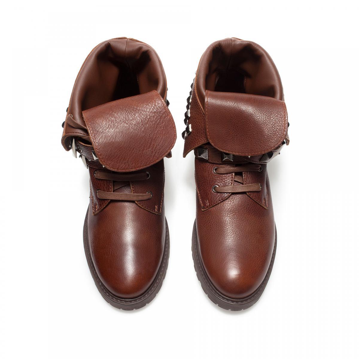 skórzane botki ZARA w kolorze brązowym - obuwie na wiosnę 2013