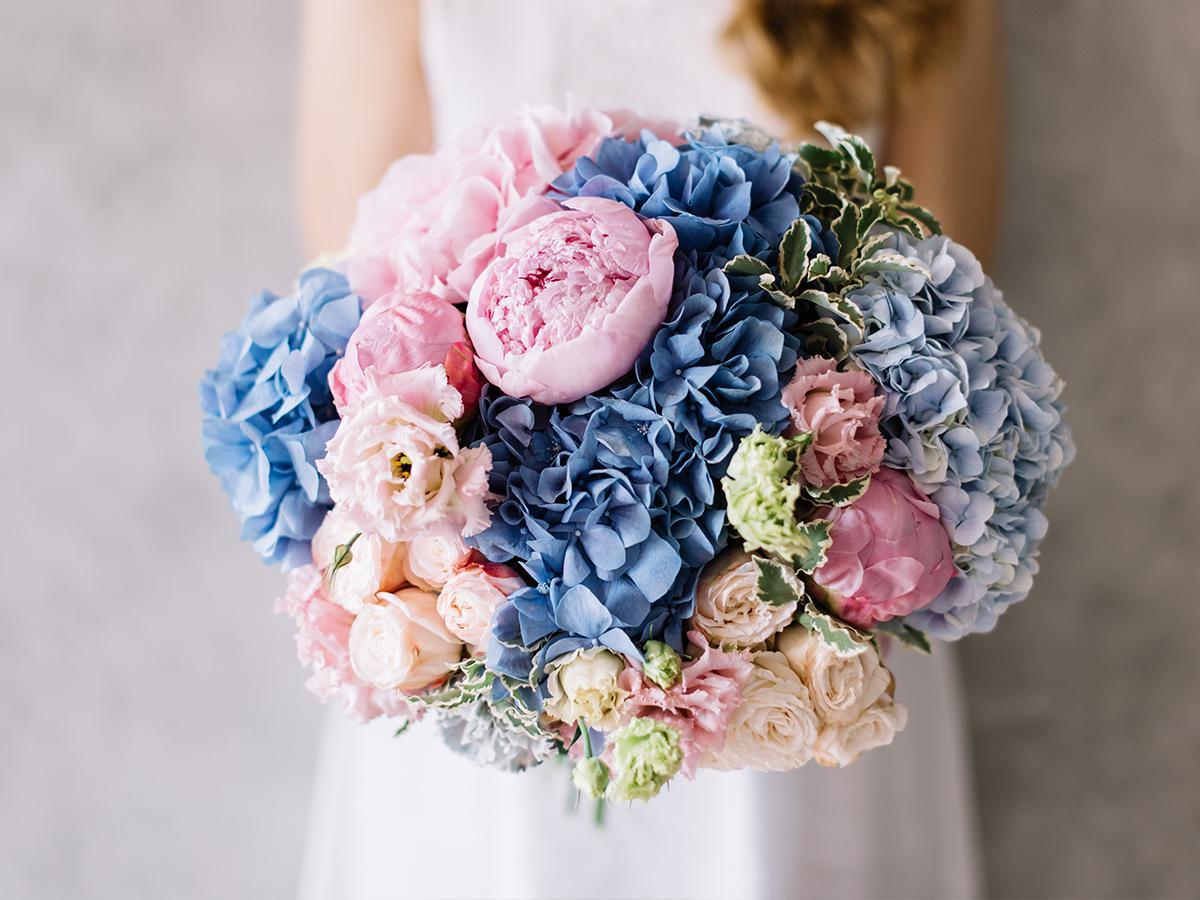 Bukiet ślubny z hortensją