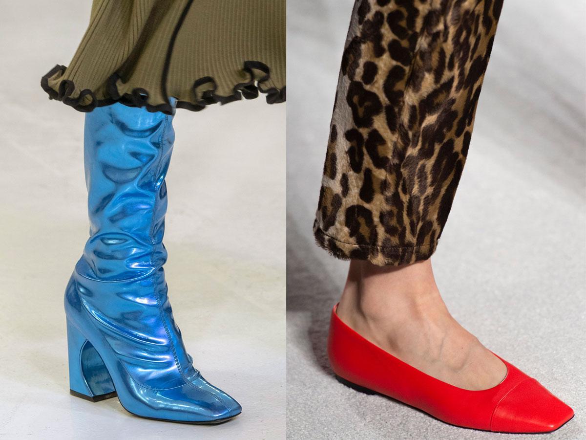 Buty na jesień 2019: prostokątne czubki
