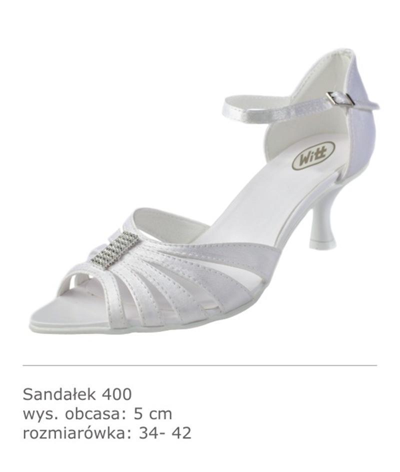 białe sandały z cyrkoniami na niskim obcasie