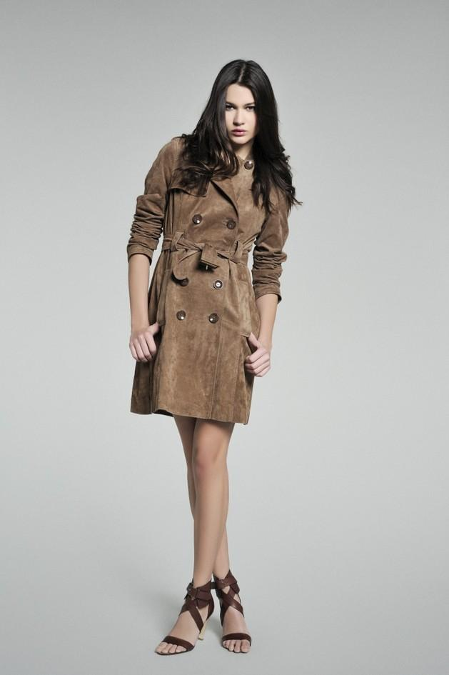 brązowy płaszcz Camaieu z zamszu wiosna 2011 Camaieu