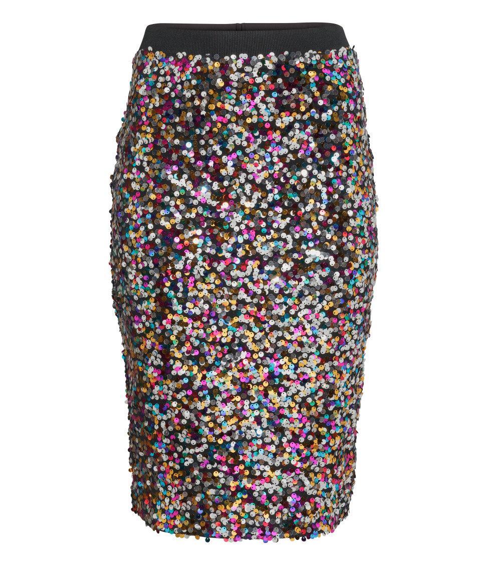 75095775 kolorowa spódnica H&M z cekinami - Cekinowe spódnice - Trendy sezonu ...