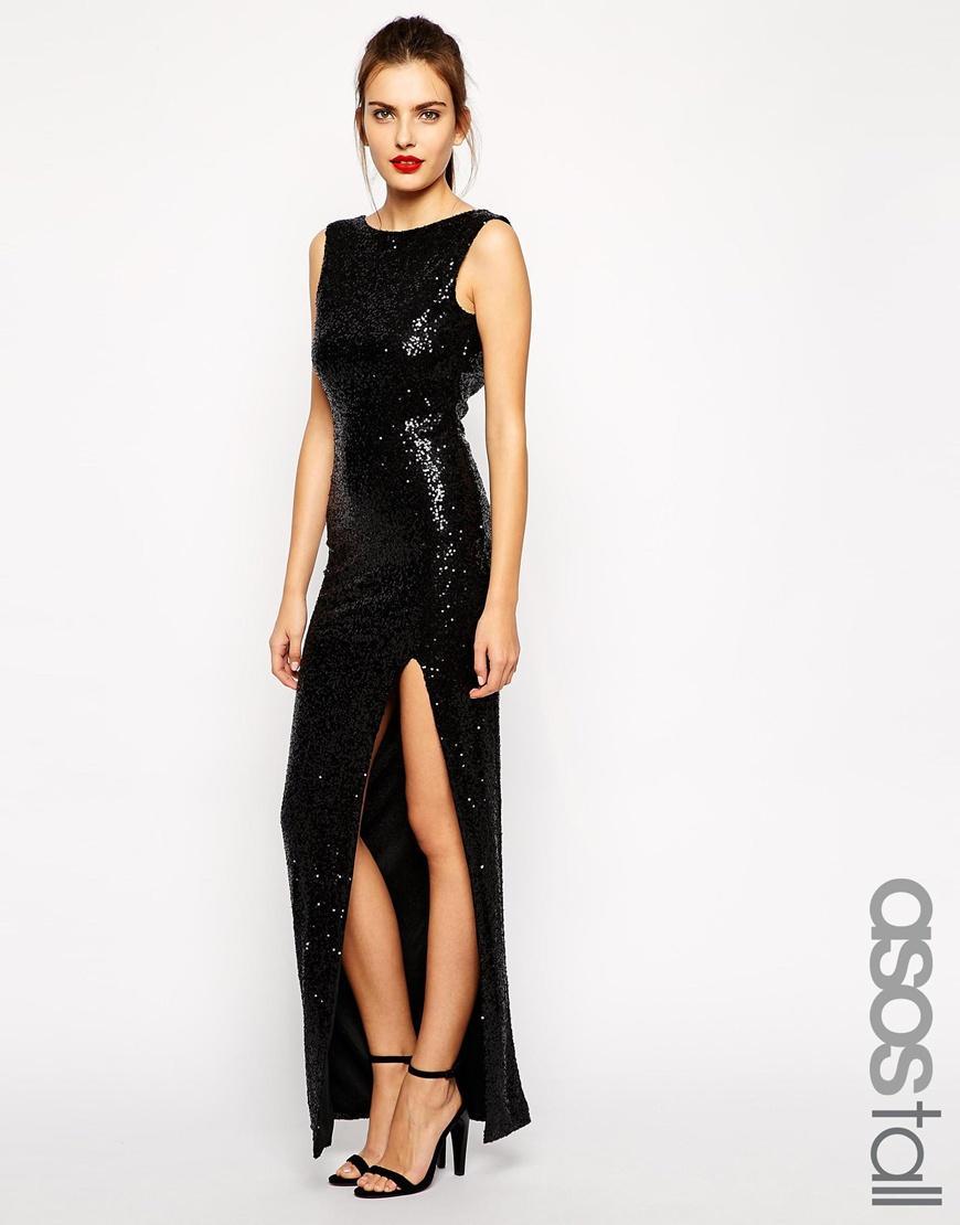 19864e376a czarna sukienka Asos z cekinami - Cekinowe sukienki - Trendy sezonu ...