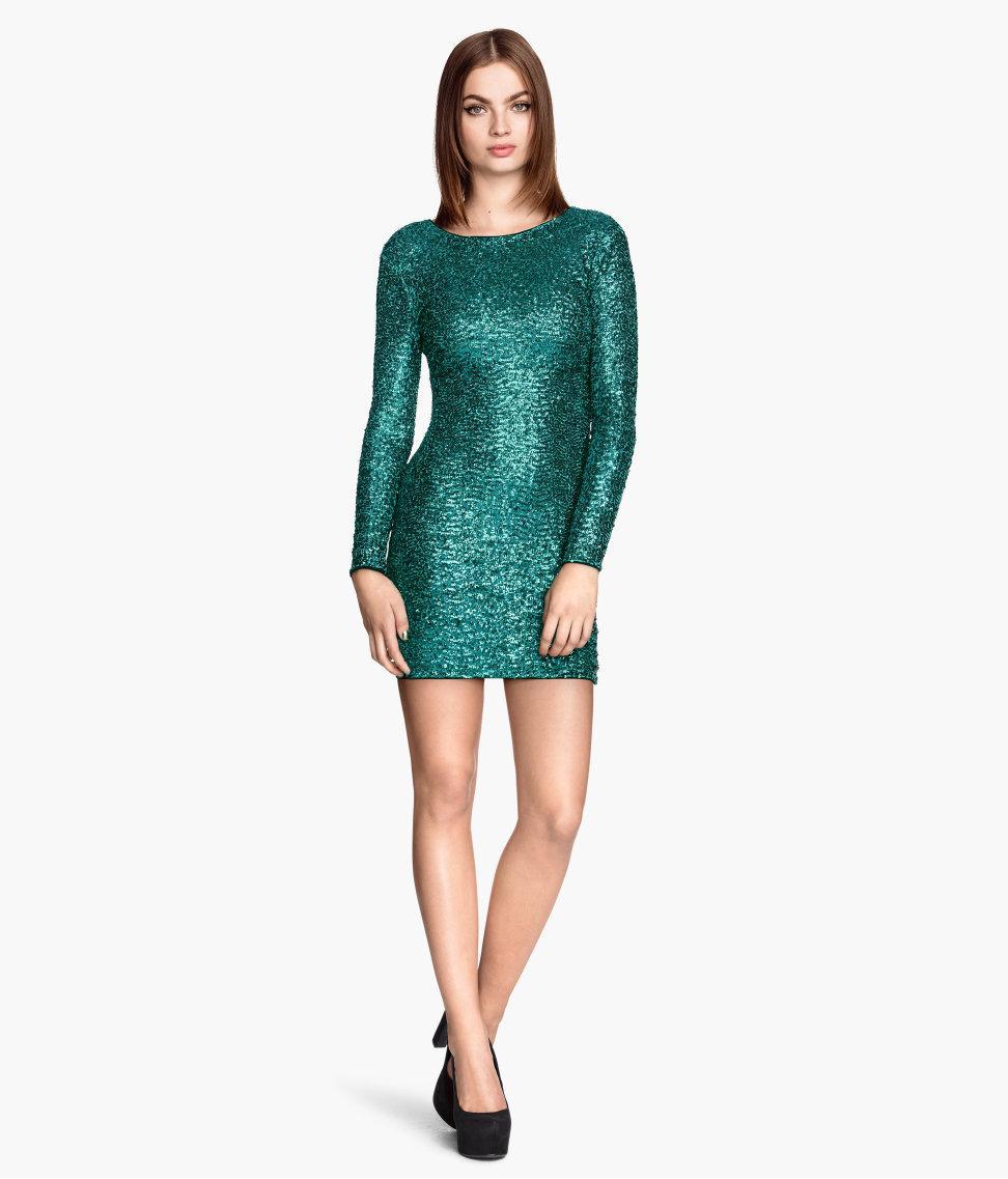 ceee967aa117e1 zielona sukienka H&M z cekinami - Cekinowe sukienki - Trendy sezonu ...
