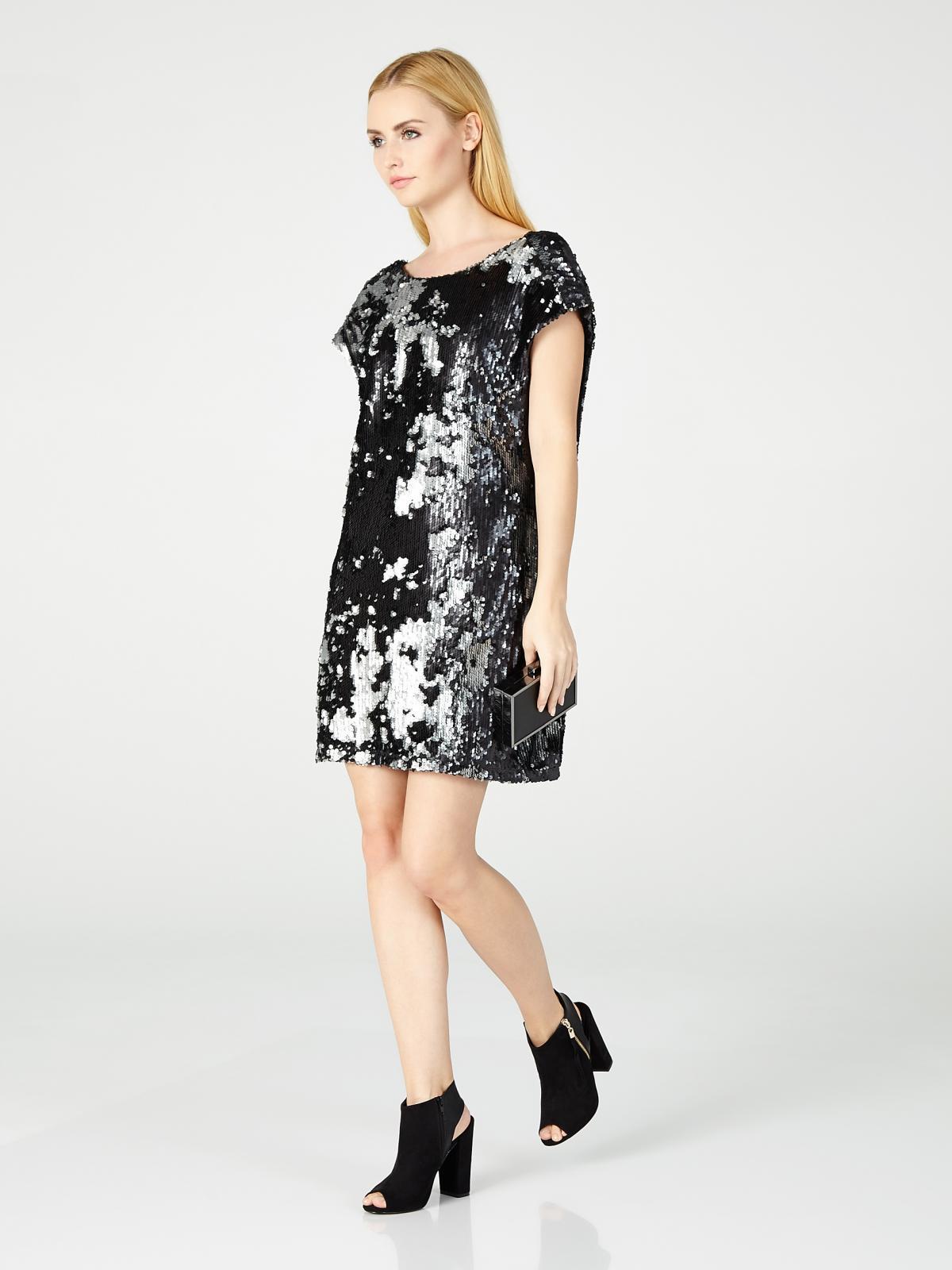 d8752c775f Czarna Sukienka Mohito Z Cekinami Cekinowe Sukienki Trendy