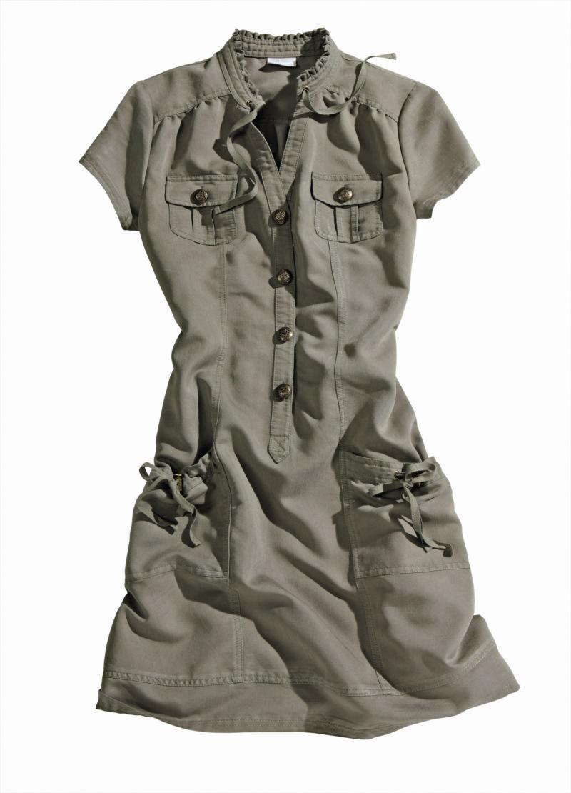 khaki sukienka Charles Vögele z kieszeniami - letnia kolekcja
