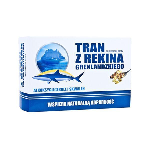 Tran z rekina grenlandzkiego w kapsułkach, cena ok. 17 zł (opakowanie 60 kapsułek)