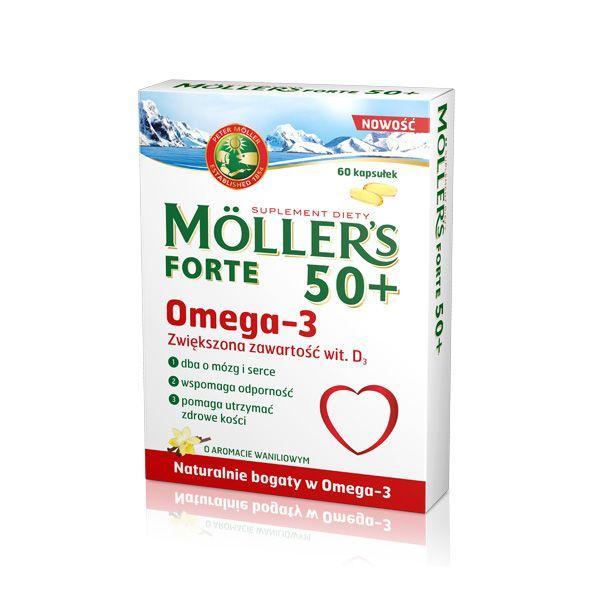 Tran w kapsułkach Möller's Forte 50+, cena ok. 24 zł (opakowanie 60 kapsułek)