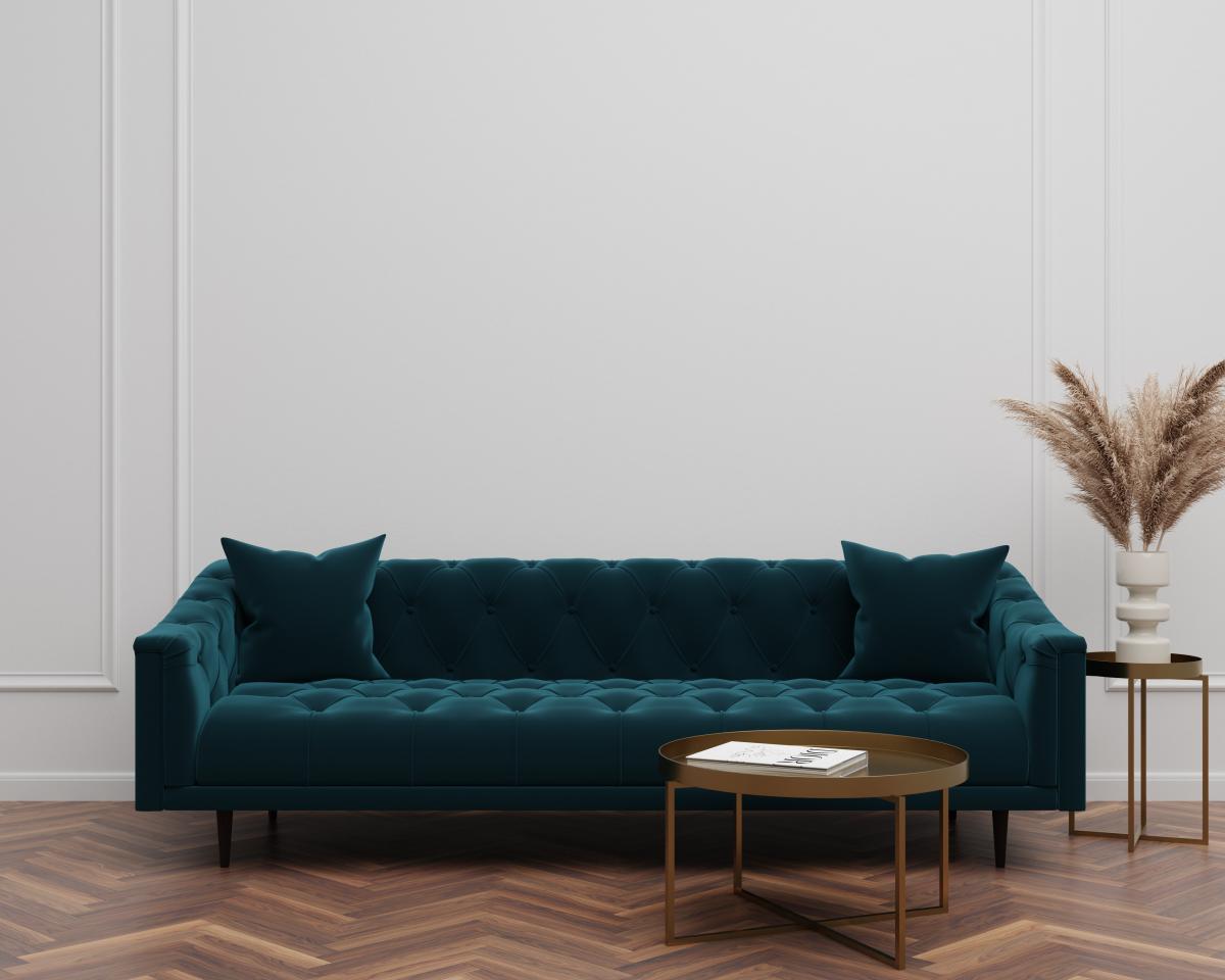 ciemnozielona sofa