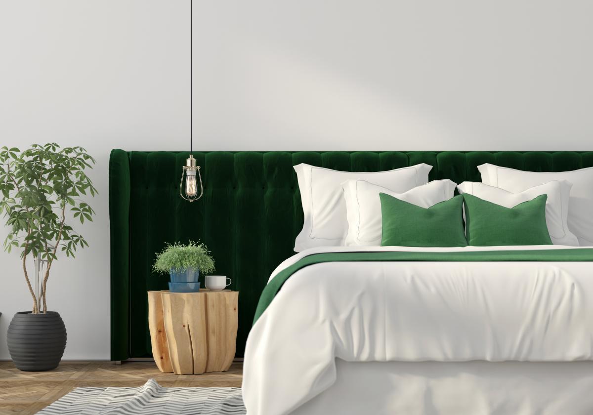 zielone dodatki w sypialni