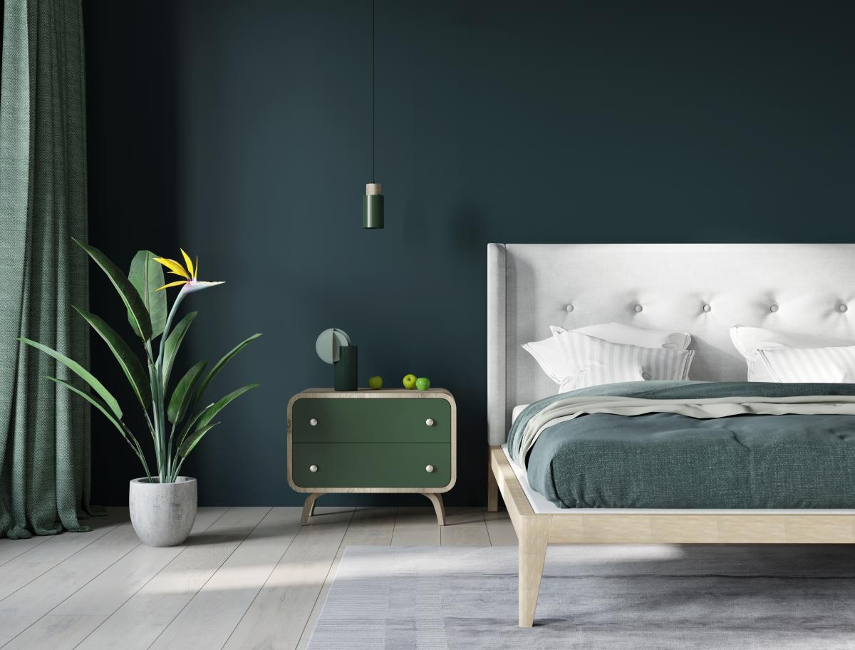 różne zielenie w sypialni