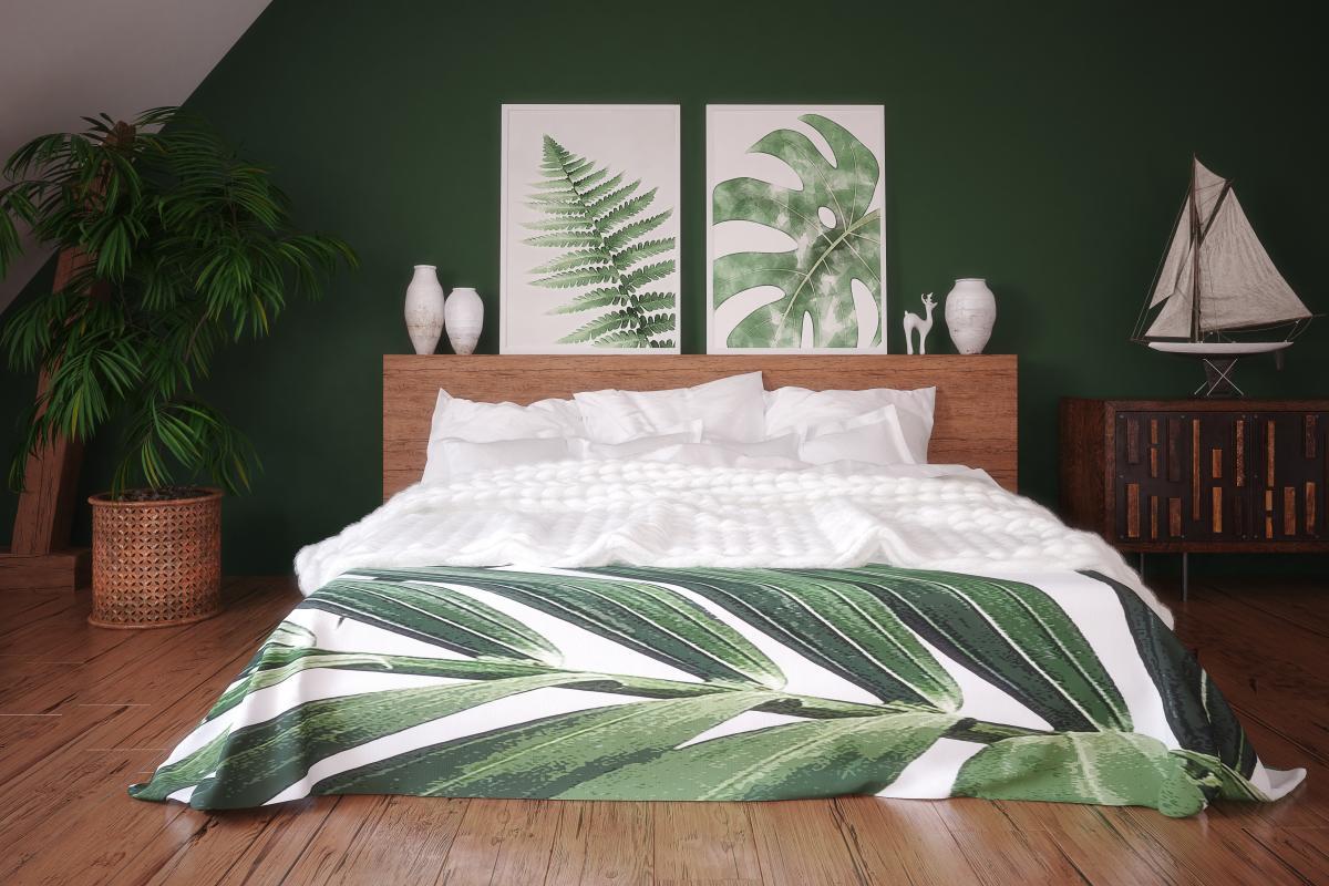drewno w zielonej sypialni