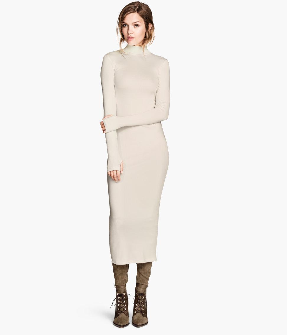 422c1e5c94 beżowa sukienka H M z golfem - Ciepłe sukienki na jesień - Trendy ...