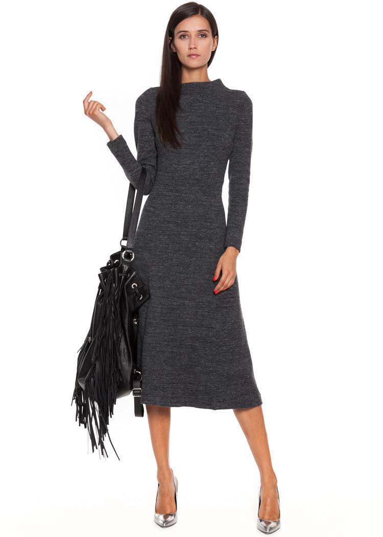 Grafitowa Sukienka Simple Ciepłe Sukienki Na Jesień Trendy