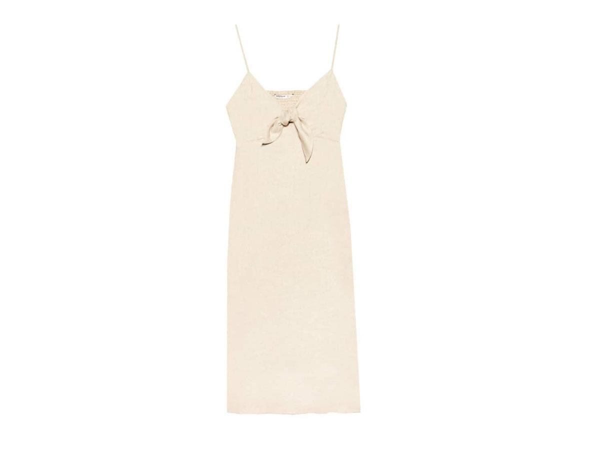 Długa sukienka na ramiączkach z wiązaniem, Stradivarius, cena ok. 99,90 zł