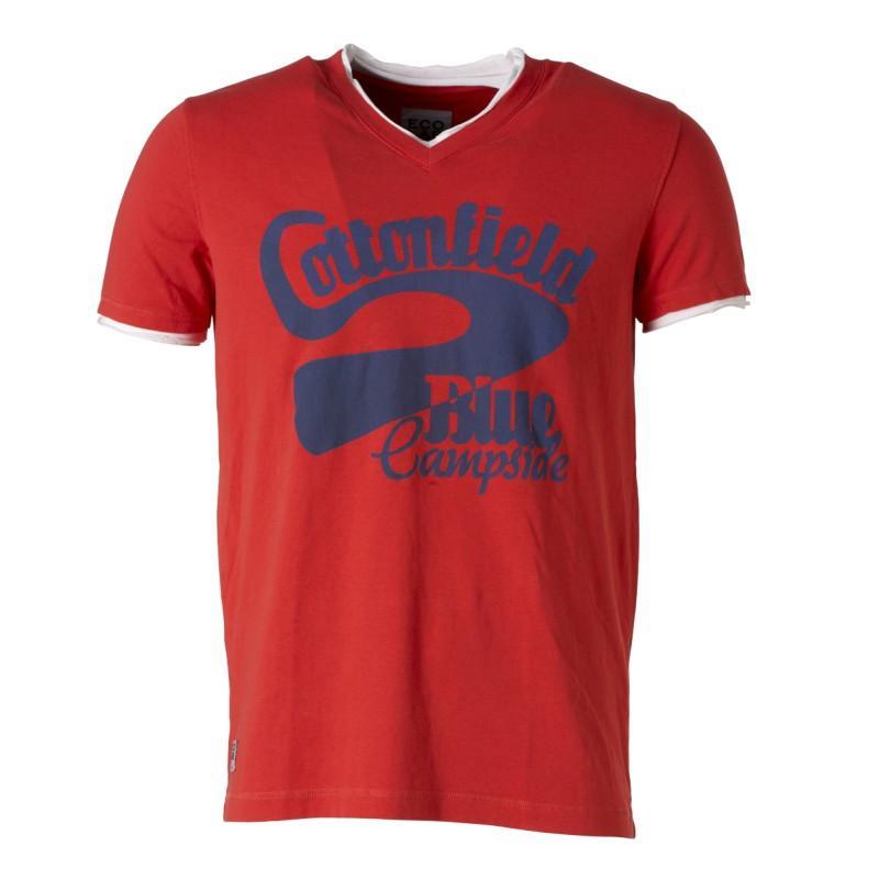 czerwony t-shirt Cottonfield z nadrukiem - moda wiosna/lato