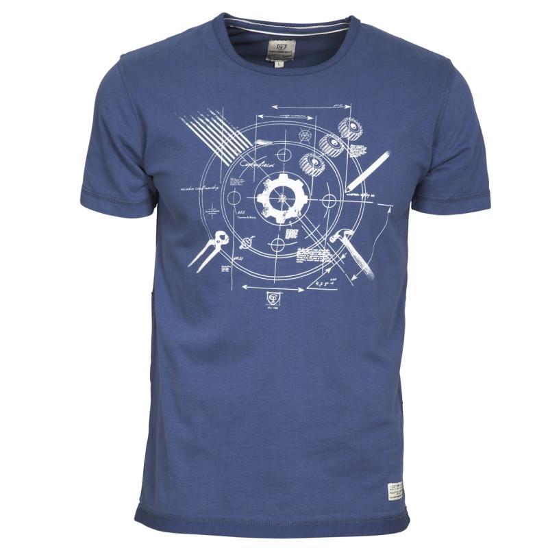 niebieski t-shirt Cottonfield z nadrukiem - moda wiosna/lato