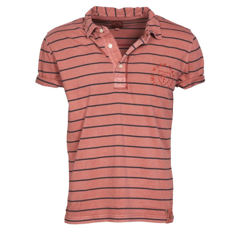 brązowa koszulka Cottonfield w paski polo - moda wiosna/lato