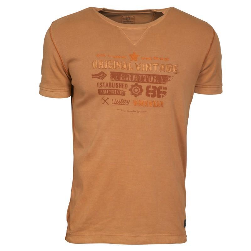 brązowy t-shirt Cottonfield z nadrukiem - lato 2011