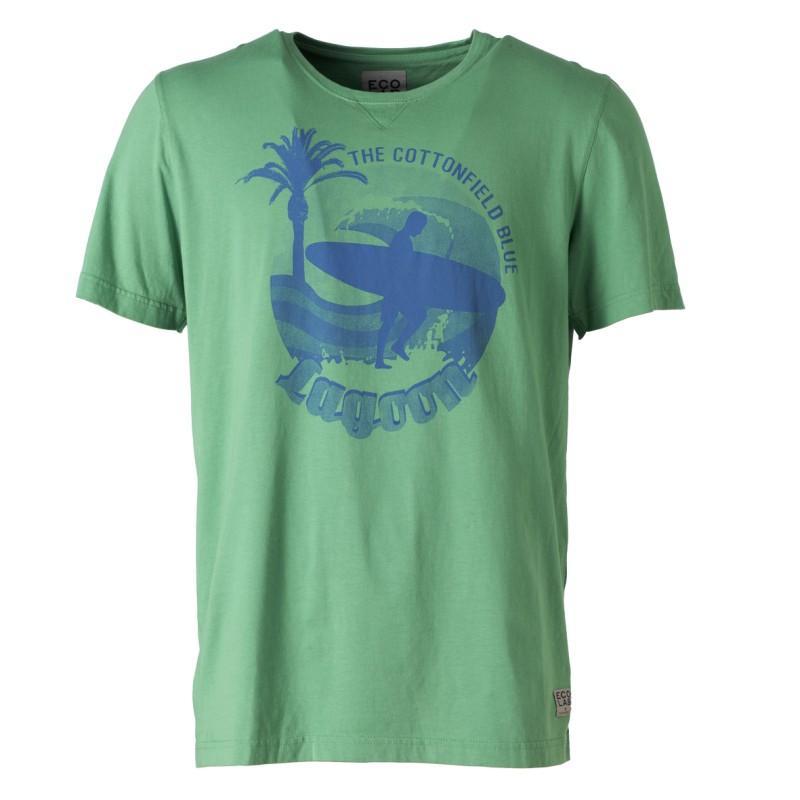 zielony t-shirt Cottonfield z nadrukiem - moda wiosna/lato
