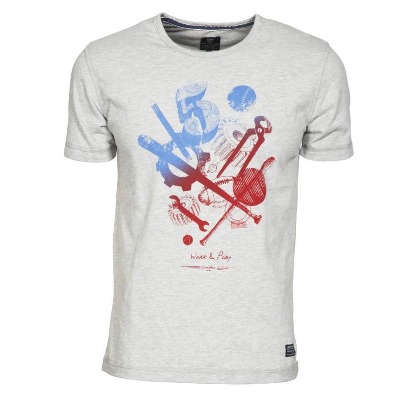 szary t-shirt Cottonfield z nadrukiem - moda wiosna/lato