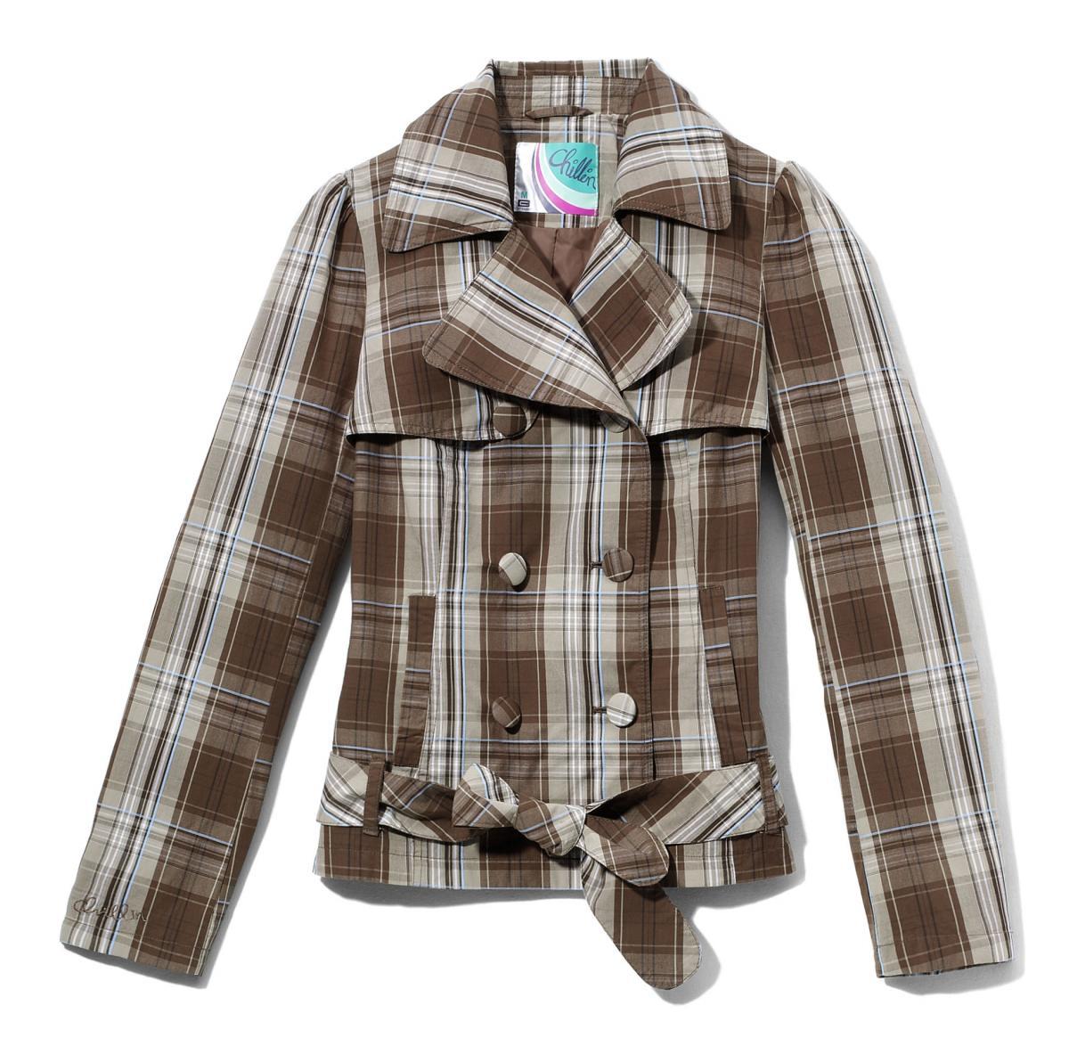 brązowa kurtka Cropp w kratkę - wiosna 2011