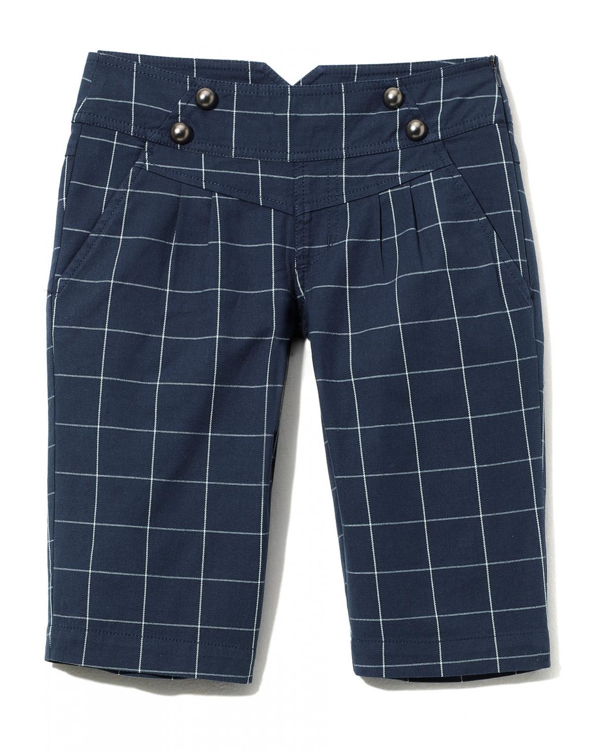 granatowe spodnie Cropp w kratkę - wiosna 2011