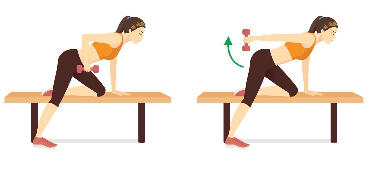 Ćwiczenia na ławeczce: prostowanie przedramienia w opadzie