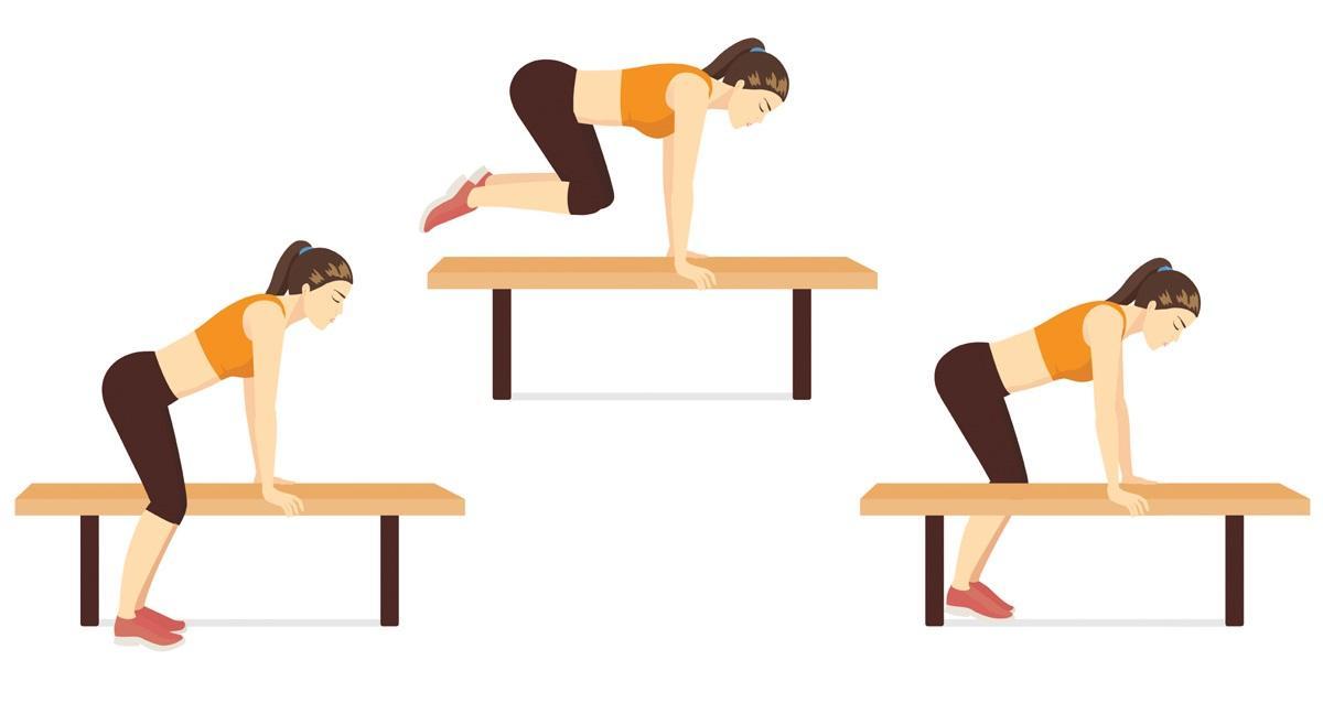 Ćwiczenia na ławeczce: przeskakiwanie przez ławeczkę