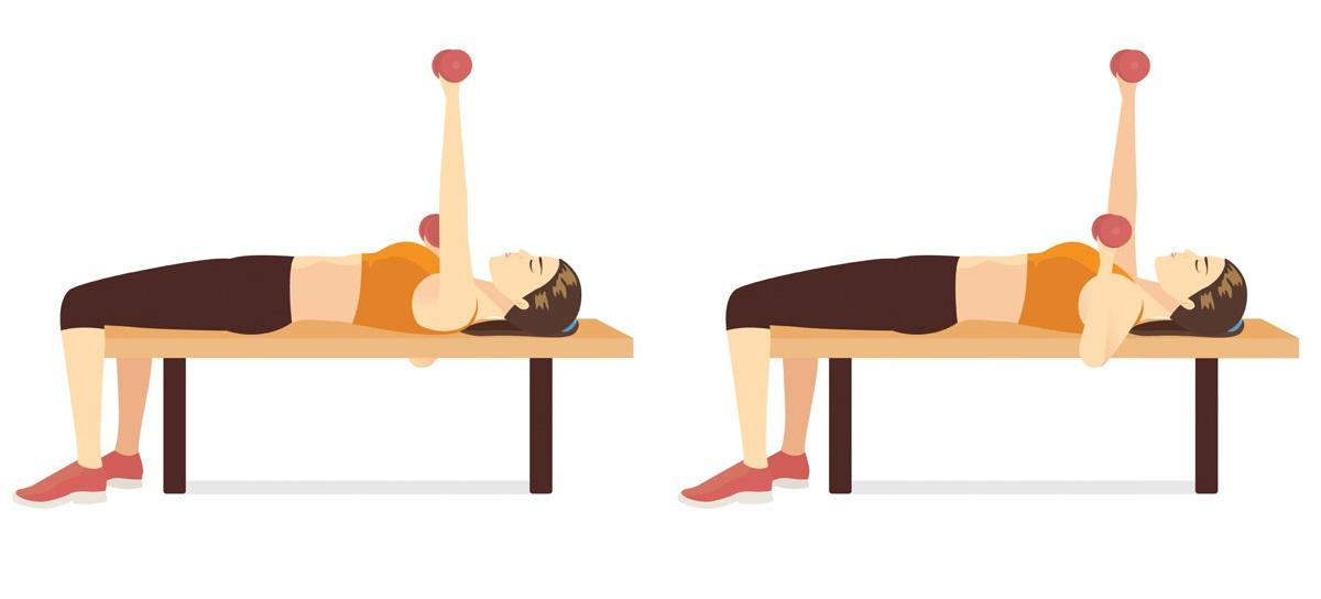 Ćwiczenia na ławeczce: wyciskanie hantli leżąc
