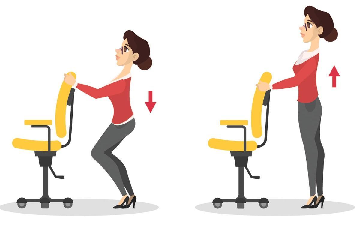 Ćwiczenia przy biurku: przysiady