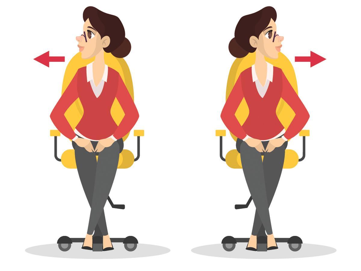 Ćwiczenia przy biurku: skręty szyi