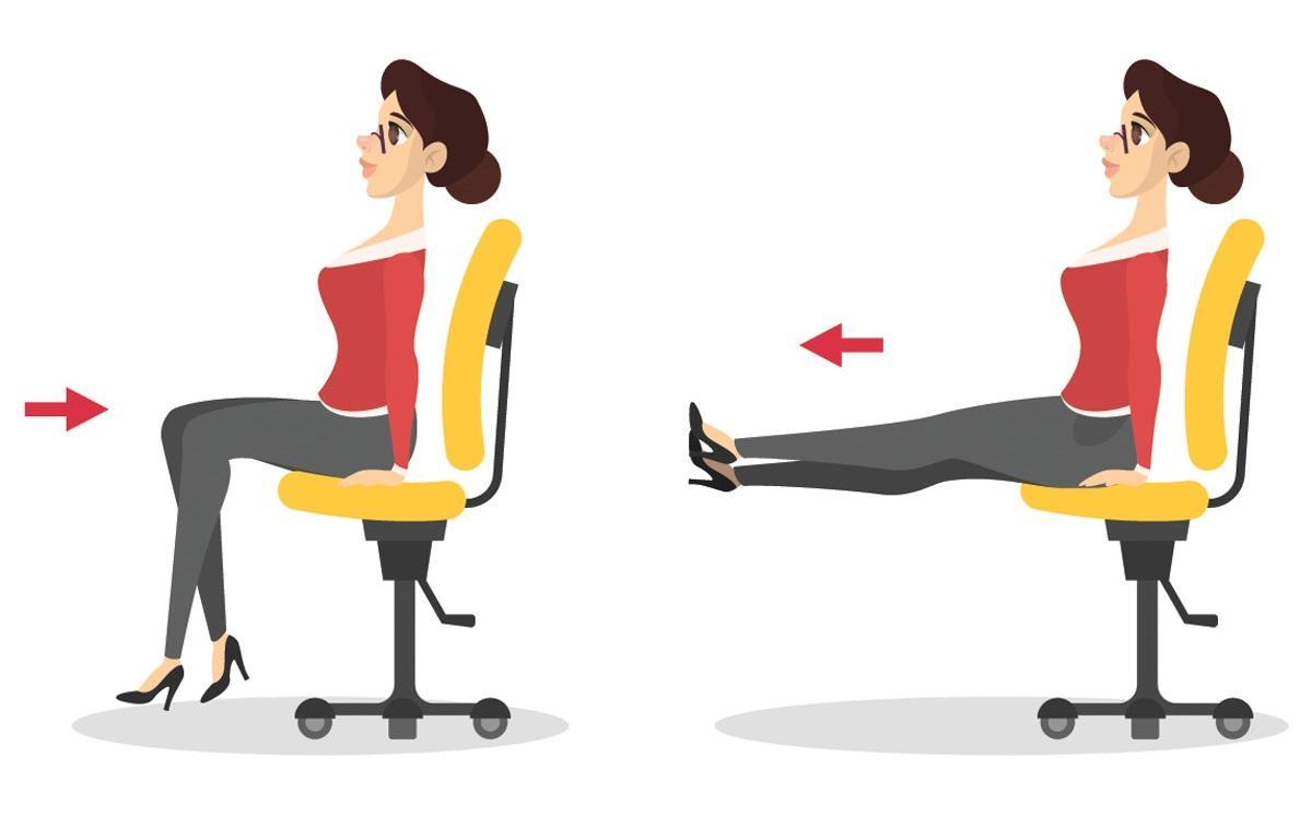 Ćwiczenia przy biurku: zginanie i prostowanie nóg
