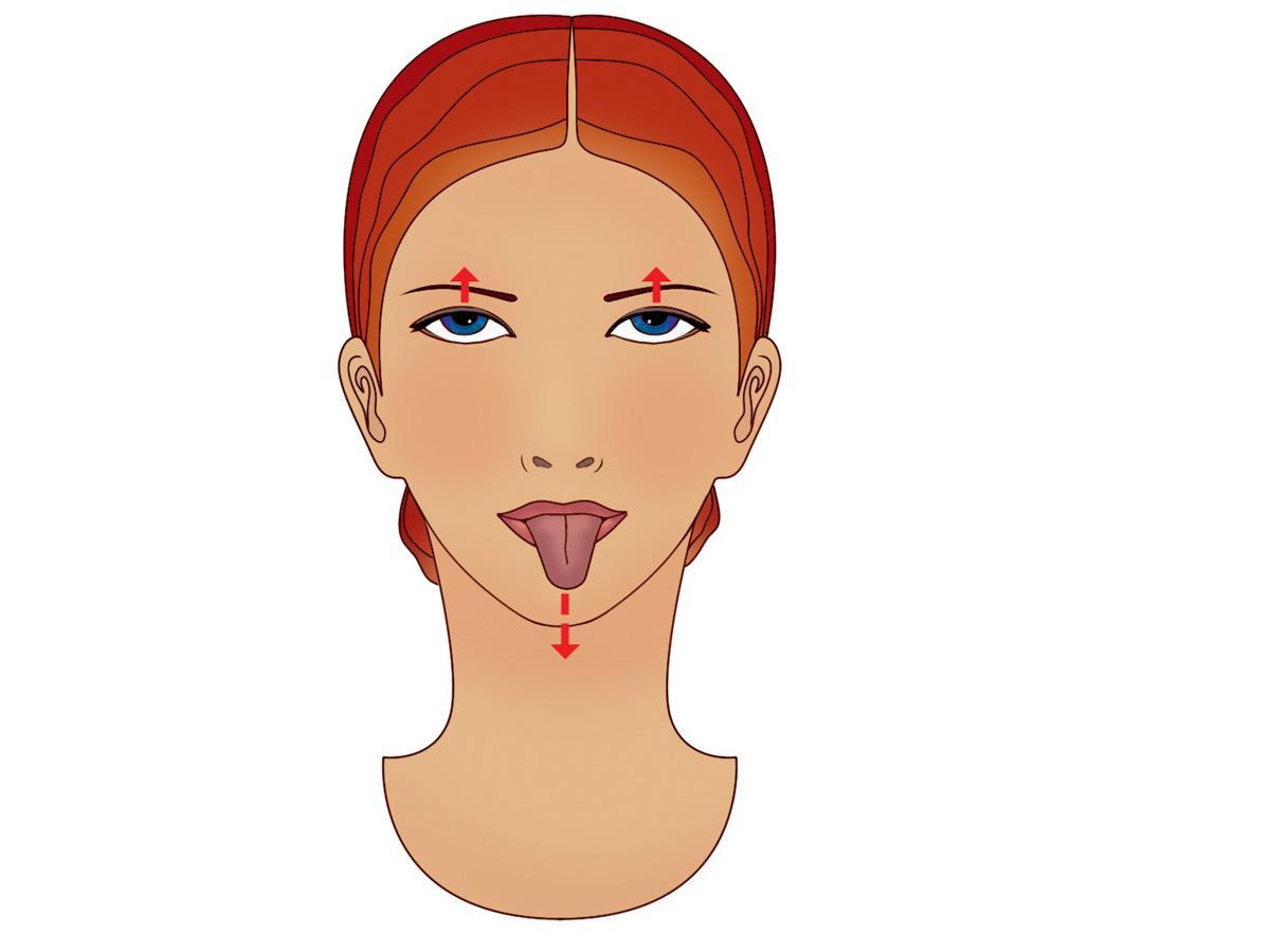 ćwiczenie na podbródek: wyciągaj język