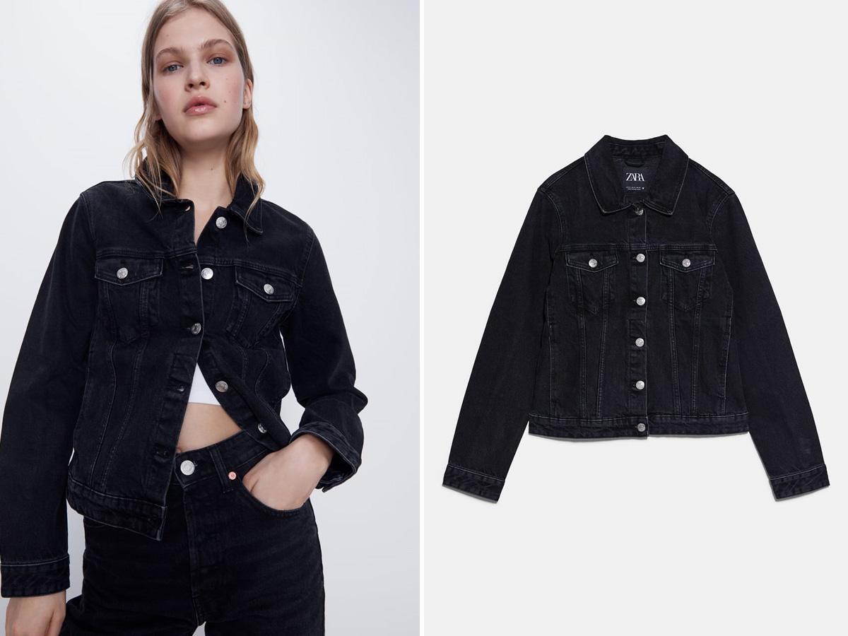 czarna kurtka jeansowa Zara