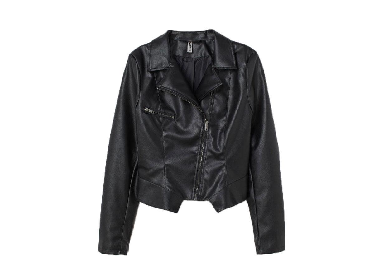 Czarna ramoneska w stylu motocyklowym, H&M, cena ok. 229,99 zł