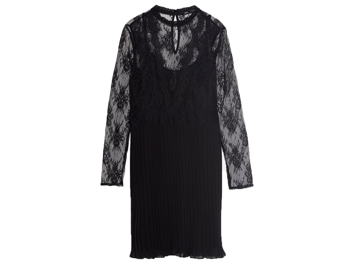 Czarna sukienka z koronką Zara