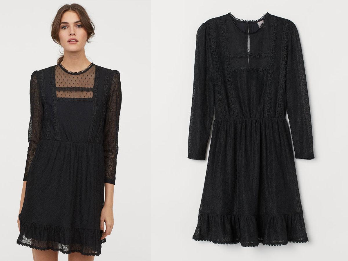Czarna koronkowa sukienka z długimi rękawami H&M